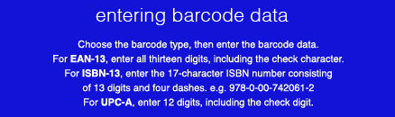 how to enter barcode data for labels